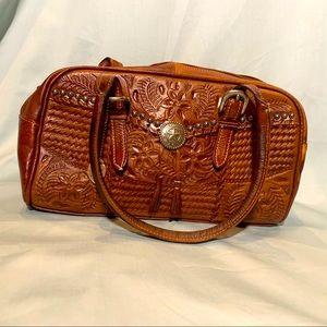 American West tooled leather purse EUC